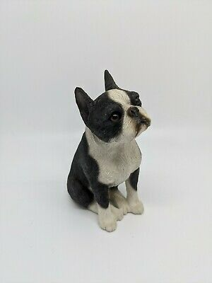"Sandicast Boston Terriers sitting (M130) 1989 painted by Sandra Brue 5"" Tall"