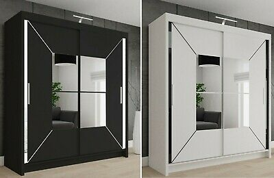 Modern Double Sliding Door Wardrobe NICOLE with LED LIGHT 2 COLOURS 4 SIZES