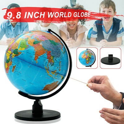25CM Rotating Earth Globe With Stand Geography Educational World Map Children