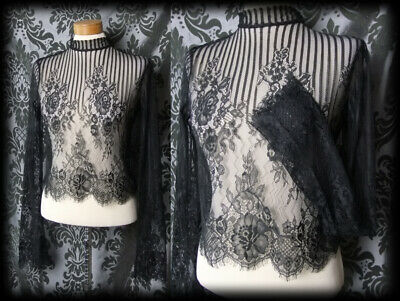 Gothic Black Sheer Lace Detail APOTHECARY High Neck Blouse 6 8 Delicate Vintage