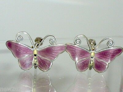 Norwegian Sterling Silver Enamel Butterfly Earrings Kristian Hestenes Screw back
