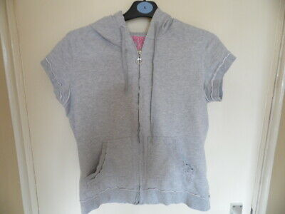 Girls Grey sleeveless, hooded top with full zip and pockets size 14-16yrs