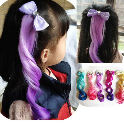 Children Colorful Wig Headwear Bow Curls Hair Clips Girls Hairpins Performance_