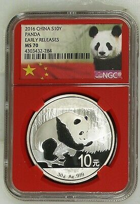 2017 China Silver Panda NGC MS70 Early Releases Red Core Holder 30 g 10 Yuan