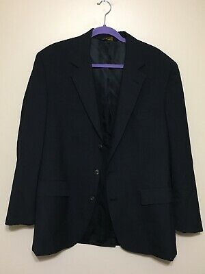 Mens Brooks Brothers 100% Worsted Wool Black Blazer Coat Sz 43 Regular EUC 43R