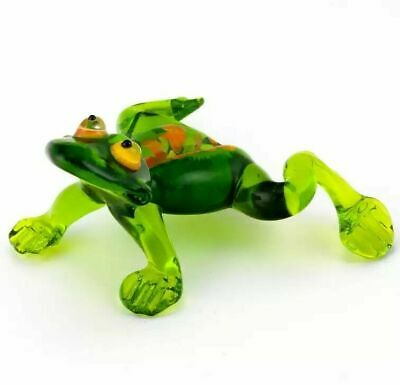 Frog green Blown Glass Figurine Russian art hand made miniatures