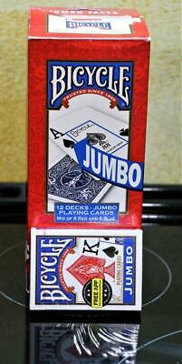 Package of 12 FACTORY SEALED Decks of Bicycle JUMBO Playing Cards RED BLUE Decks