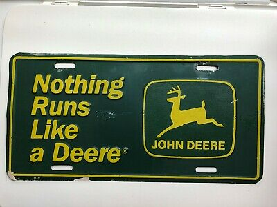 John DEERE License Plate Farm Equipment Agriculture Collectible Advertising