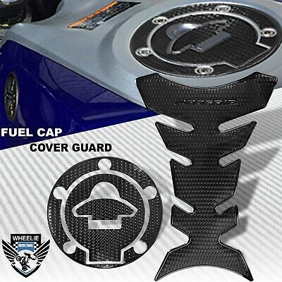 BLACK/&CHROMED RED GAS TANK FUEL CAP COVER PROTECTION GUARD 14-20 YAMAHA YZF R3