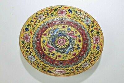 An Estate Chinese Yellow-coding Bat-framing Fortune Porcelain Plate