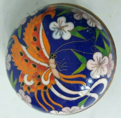 Vintage Chinese Cloisonne Trinket Box Blue With Floral Butterfly Design 3.5""