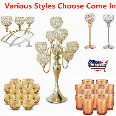 1/3/5/7/12 Head Candle Holder Tealight Candlestick Gold/Silver Home Party Decor