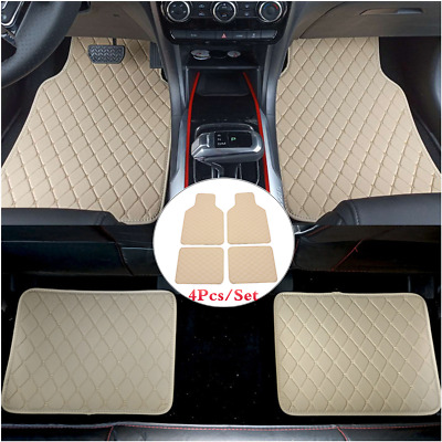 4 Piece Beige PU Leather Full Set Car Front Rear Floor Mat Carpet Protect Pad