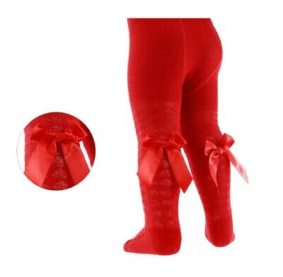 Baby Girls Spanish Style Bow Tights Red Diamond Romany Party 0 3 6 12 24 Months