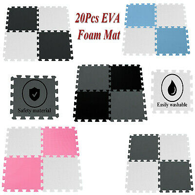 20Pcs EVA Foam Mat Kids Play Floor Mats Tiles Interlocking Exercise Gym 30x30cm