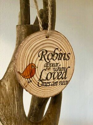 Wooden Log Slice Decoration  Hanging Handcrafted Robin In Memory Gift