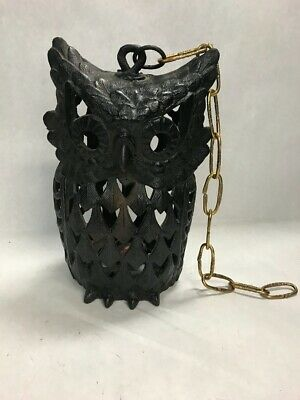 Vintage Cast iron large hanging OWL candle holder indoor outdoor chain 12 inch