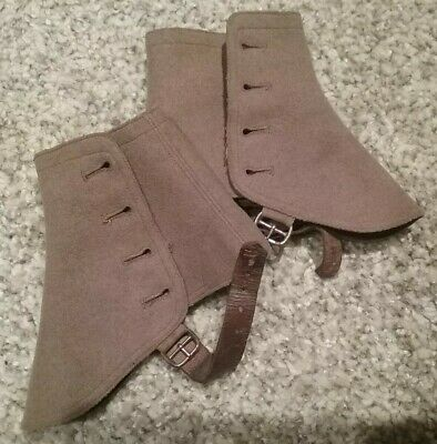 Edwardian Brown Felt / Wool Four Button Leather Strap Spats
