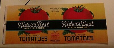 RED-GLO TOMATO CAN LABEL File Copy 1940s Preston /& Aberdeen Maryland 1Lb11oz