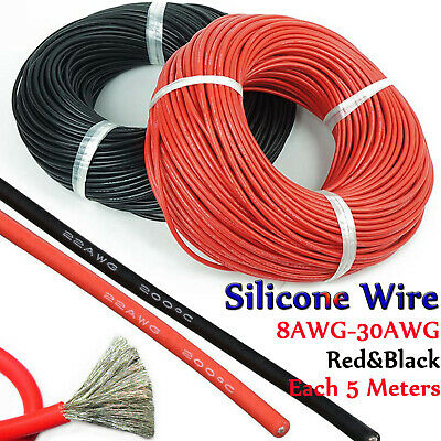 30/28/26/24/22/20/18/16/14/12/10/8awg Stranded Silicone Wire 10M Black&Red Mixed