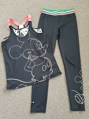 Disney Soul Luxe Matalan Mickey Mouse Gym Leggings Top Set Outfit Age 12 Years