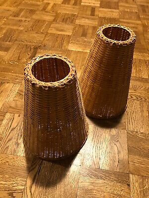 Rare Woven Wicker Rattan Lampshade Pairs 25cm - For Table or Ceiling.