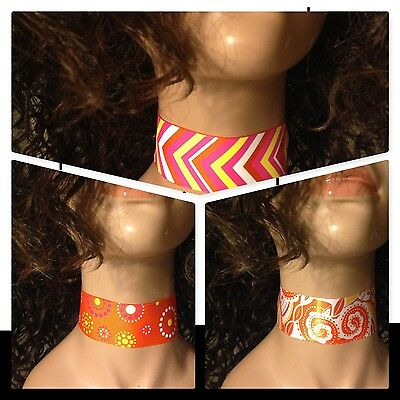 "Chokers 3 Colors& 5 Sizes to Choose From Orange Chevron Paisley 1.5"" Wide Choker"