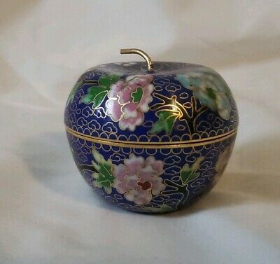 Handmade Copper Brass Cloisonne Enamel Makeup Boxes Jar Apple