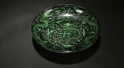 A Chinese Green-coding Vividly Detail Estate Dragon-decorating Porcelain Plate