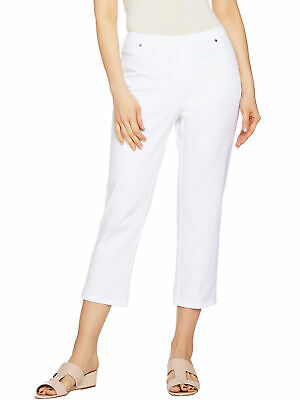 H BY HALSTON Size 12 Studio Stretch Crop Pull-on Pants WHITE