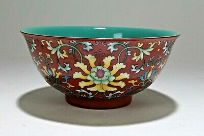 An Estate Chinese Nature-sceen Fortune Red-coding Bat-framing Porcelain Bowl