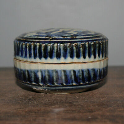 Chinese Old Sacrificial Blue Glaze Carved Dragon Pattern Porcelain Inkpad Box