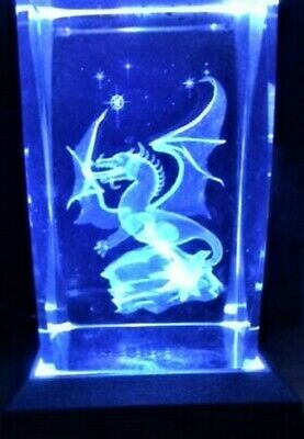 3D WESTERN MYTHICAL WINGED DRAGON STARS CRYSTAL Laser+4 LIGHT BASE NEW GIFT BOX