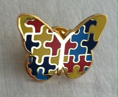 Colorful Butterfly Gold Cloisonné Lapel Pin Puzzle Game Pieces Wings Animal 1""