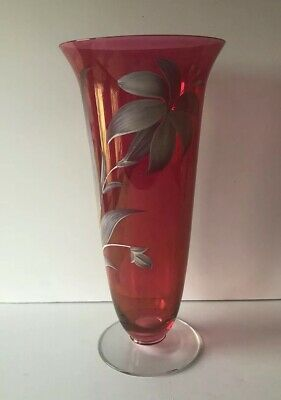 """Vintage Bohemian Ruby Cranberry Flash Glass 10 5/8"""" Vase W/Hand Painted Flowers"""