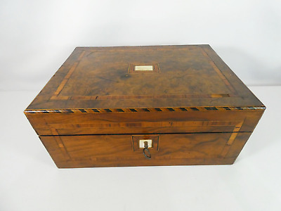Antique Victorian Walnut Tunbridge Ware Writing Slope Sewing Box Pearl Inlay