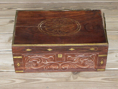 Hand-Crafted Wooden Chest-Brass Inlay & Trim-Carved Front-Interior Compartments