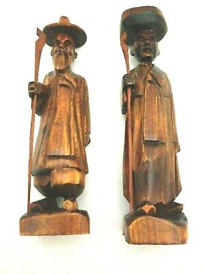 Chinese Hand Carved Wooden Old Men / Immortals Figurines