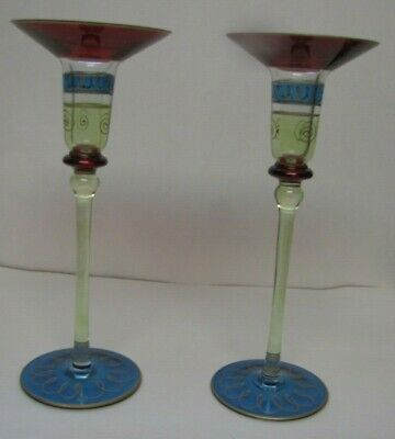 "Two Beautiful Vintage Candle Holders 10"" Tall"