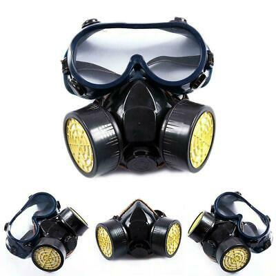 Gas Mask Survival Safety Respiratory Emergency Filter Anti flu W/Dual 2 Goggle