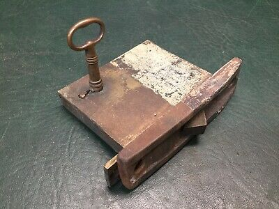 Antique Cast Brass and Steel Door Lock Unusual Shape Mechanism w/ Working Key