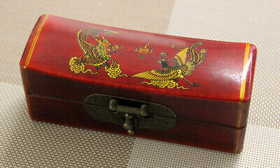 Fine Chinese Wood Craft Lacquered Pen or Jewels Box w/ Dragon & Han Print Decor