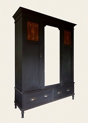 Large Antique Black Painted Triple Mahogany Compactum Gentleman's Wardrobe