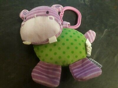 Le Jou Jou Soft Baby Hippo Rattle Suitable From Birth Multi-Sensory Pram Toy