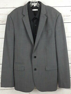 EXPRESS Photographer Men's Suit Jacket US 44L Fitted Charcoal Grey Wool 2-Btn