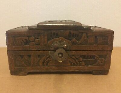 Antique Ornate Asian CHINESE Handmade Carved CAMPHOR Wooden TRINKET Box