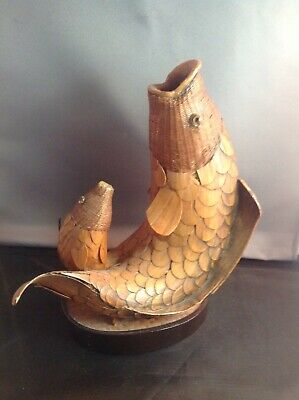 Antique Chinese Asian Bamboo and Rattan Pair Coy/fish Decor/statue Handmade Rare