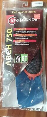 Arch 750 Performance Insoles by 10 Seconds 3//4 Length fits almost any shoe