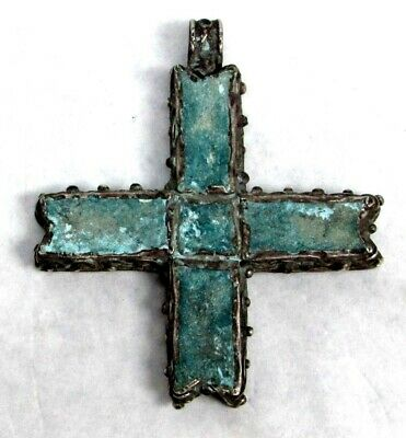 700-900 Ad Byzantine Very Rare Silver Pectoral Cross With Turquoise Stone Inlay