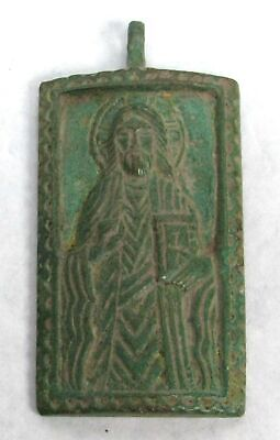 10th to 12th CENTURY AD RARE BRONZE BYZANTINE RECTANGULAR CHRIST PENDANT
